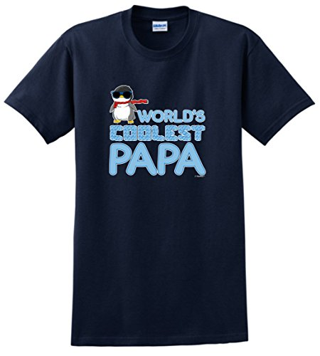 Funny Papa Gifts World's Coolest Papa Penguin with Sunglasses T-Shirt 2XL Navy