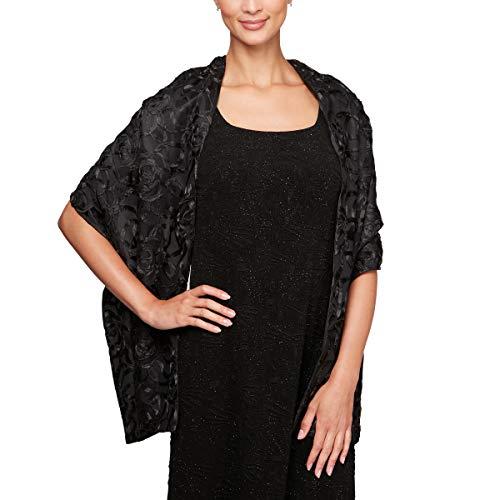 Alex Evenings Women's Evening Elegant Wraps, Shawls, Cover Ups, Black Soutache, One -