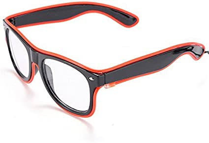 eoocvt Fashionable Glow Eye Glasses with Voice Control Light Up El Wire Led Flashing Glasses for Halloween Christmas Birthday Party Favor White