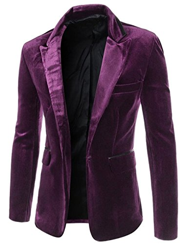 YUNY Men's Leisure One-Button Corduroy Formal Suit Blazer Purple XL (Leisure Suits For Sale)