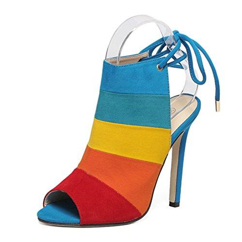 Women's Peep-Toe Slingback Lace-up Stiletto Heels Dress Sandals Rainbow EU38