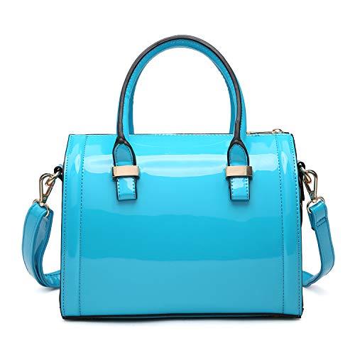 (Dasein Shiny Patent Faux Leather Mini Barrel Body Satchel Handbag Shoulder Bag, Small, Blue-new)