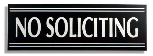 JP Signs - No Soliciting Sign - 9 X 3 Inch Engraved Premium Office Signage for Door (Black / White) - Not a Sticker - Keeps Unwanted Visitors Away – Highly Noticeable – Elegant for House or Office. by JP Signs