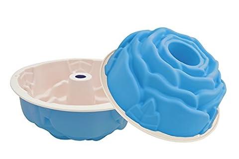 Marathon Housewares Premium Two-Tone Silicone Rose Cake Bundt Pan, Blue