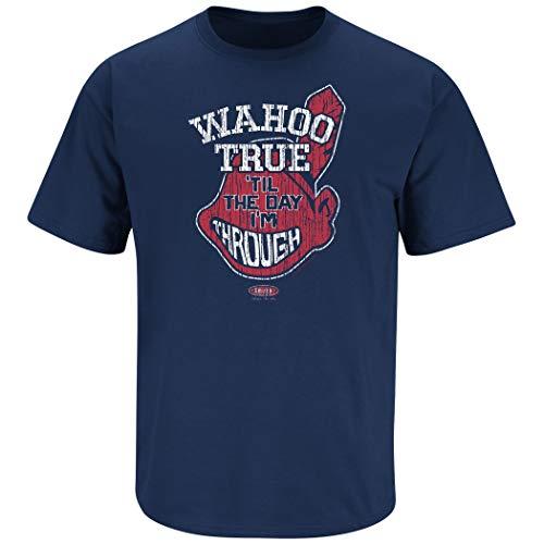 Cleveland Baseball Fans. Wahoo True. Navy T-Shirt (Sm-5X) (Short Sleeve, Large)