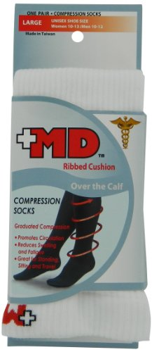MD USA Ribbed Cotton Compression Socks with Cushion, White, Large,  (Pack of 2)