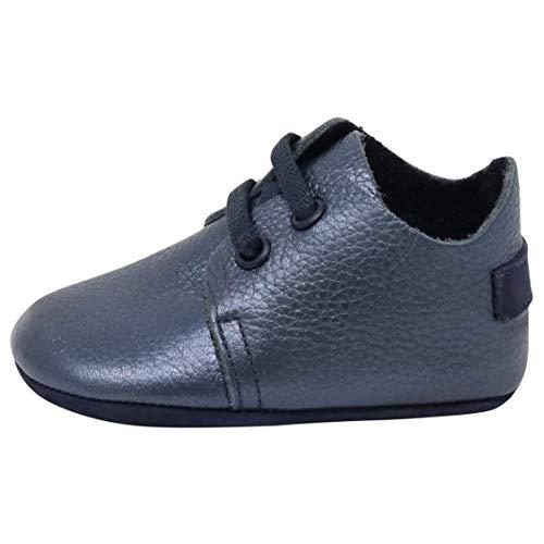 Ella Bonna Mini Oxford Shoes | Cowhide, Full Grain Leather Sole | Flexible | Handmade Designer Moccasins | for Baby Boys Girls Toddlers (US 7 M, Dark Blue) (Moccasins Cowhide Leather)