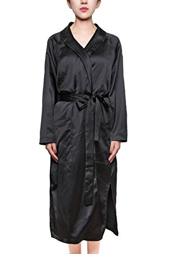 Belted Satin Trench Coat (Baiwan Women's Floral Embroidered Long Sleeve Belted Satin Robe/Coat Trench Coat (Black, S/M))