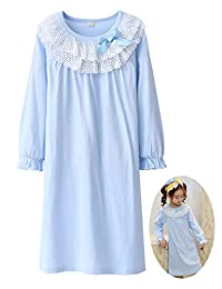 Zegoo Princess Cotton Sleepwear Long Sleeve Plus Size Night Gowns Sleeping Dress