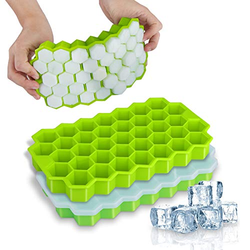 Ice Cube Trays, WETONG 2 Pack Silicone Ice Cube Molds with Lid Flexible Ice Trays BPA Free, for Whiskey, Cocktail, Stackable Flexible Safe Ice Cube Molds (1-74)