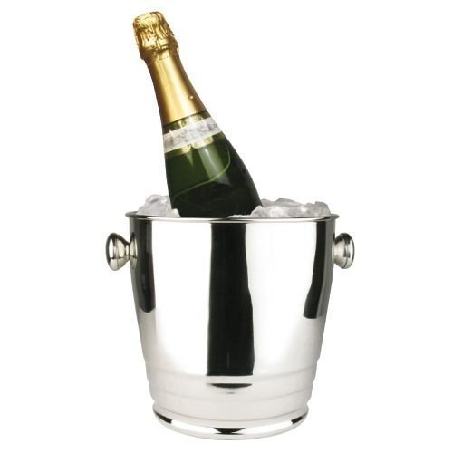 Winco WB-4HV, 4-Quart Heavy Stainless Steel Deluxe Wine Ice Bucket With Ribs, Mirror Finish Champagne Bottle Cooler Chiller with Handles