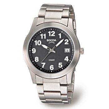 3550-04 Mens Boccia Titanium Watch, Black Dial