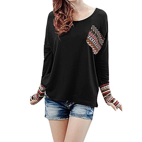 Machine Patchwork (Forthery Tunic Tops, Womens Long Sleeve Casual Loose Patchwork Tops Blouse With Pockets (XXL, Black))