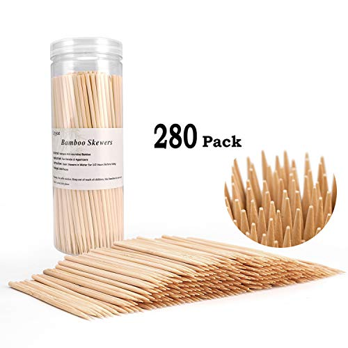 Bamboo Skewers BBQ Natural Bamboo Sticks for Appetizers, Cocktails, Caramel, Candy Apple, Corn Dog, Corn Cob, Chocolate Fountain, Kabob, Grill (6 inch -280pcs)
