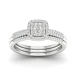 IGI Certified Sterling Silver 1/3ct TDW Diamond Cluster Bridal Set