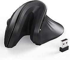 iClever ワイヤレスマウス 無線 垂直型 2.4GHz 光学式 3DPI調節可能 約500万回クリック 省エネモード 幅広い互換性 オフィス用 家庭用 TM209G