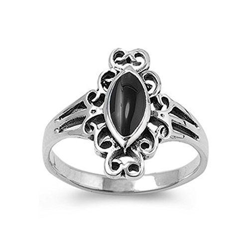 Sterling Silver Marquise Simulated Black Onyx Vintage Ladies Ring 17mm ( Size 4 to 10 ), 5 (Onyx Vintage Black)