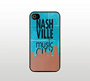 Nashville Music City Snap-On Case for Apple iPhone 5 - Hard Plastic - Black - Cool Custom Cover