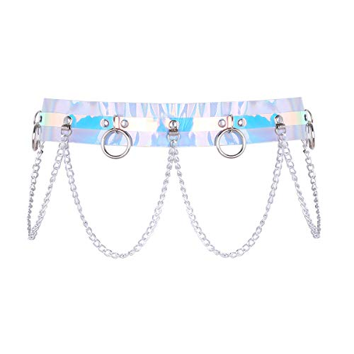 (MSemis Women Shiny PVC Adjustable Waist Garter Belt Body Caged Harness with Metal Chains and O-Rings Silver One Size)