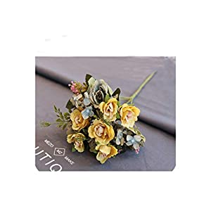 Silk Tea Roses Bride Bouquet for Christmas Home Wedding Year Decoration Fake Plants Artificial Flowers,3 31