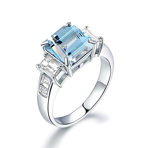 - Epinki 925 Sterling Silver Ring Square Ring Wedding Brilliant Ring for Women White Gold with Blue Topaz Rings Qalo Womens Size 4.5