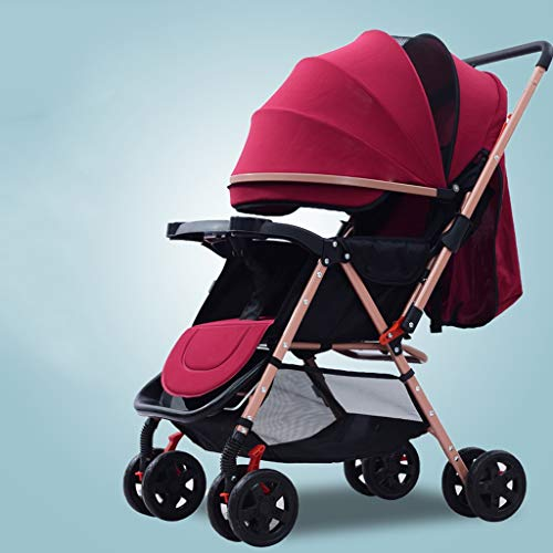 XYSQ Stroller Lightwight Carriage Foldable, The Trolley Type Portable Pram, The High Landscape Can Sit and Lie On The Light Foldable Children's Pushchair (Color : Red)
