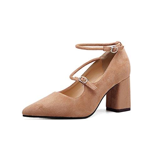 ad tacco Con donna di cinghia alto punta scarpe anello piede scarpe nero singolo bold nuovo il satin luce ugello Khaki ZHZNVX qzdxHXX