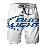 Men's Bud Light Logo Beach Shorts Quick Dry Lace Beach Board Shorts Breathable Beachwear White