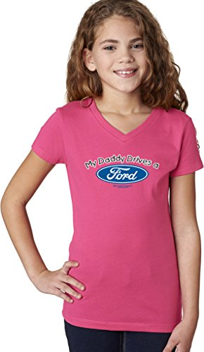Daddy Drives - Girls My Daddy Drives a Ford V-neck Shirt, Hot Pink, X-Small