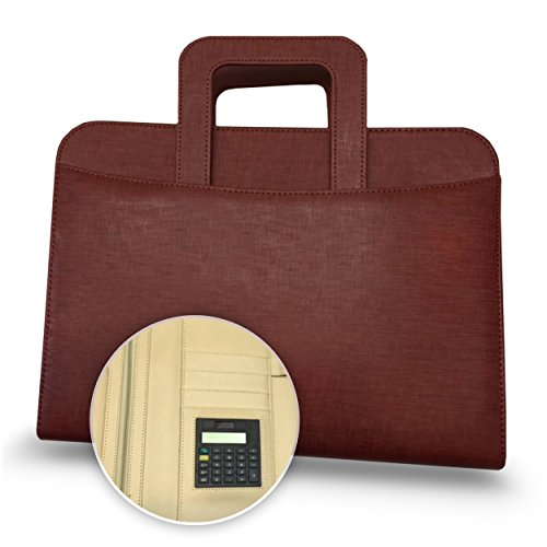Executive Deluxe Portfolio - Professional Padfolio Holder with Zippered Closure, Business Pad Holders, iPad Pocket Case, Letter Size Writing Pad - PU Leather - Brown with Handles from Onoteva