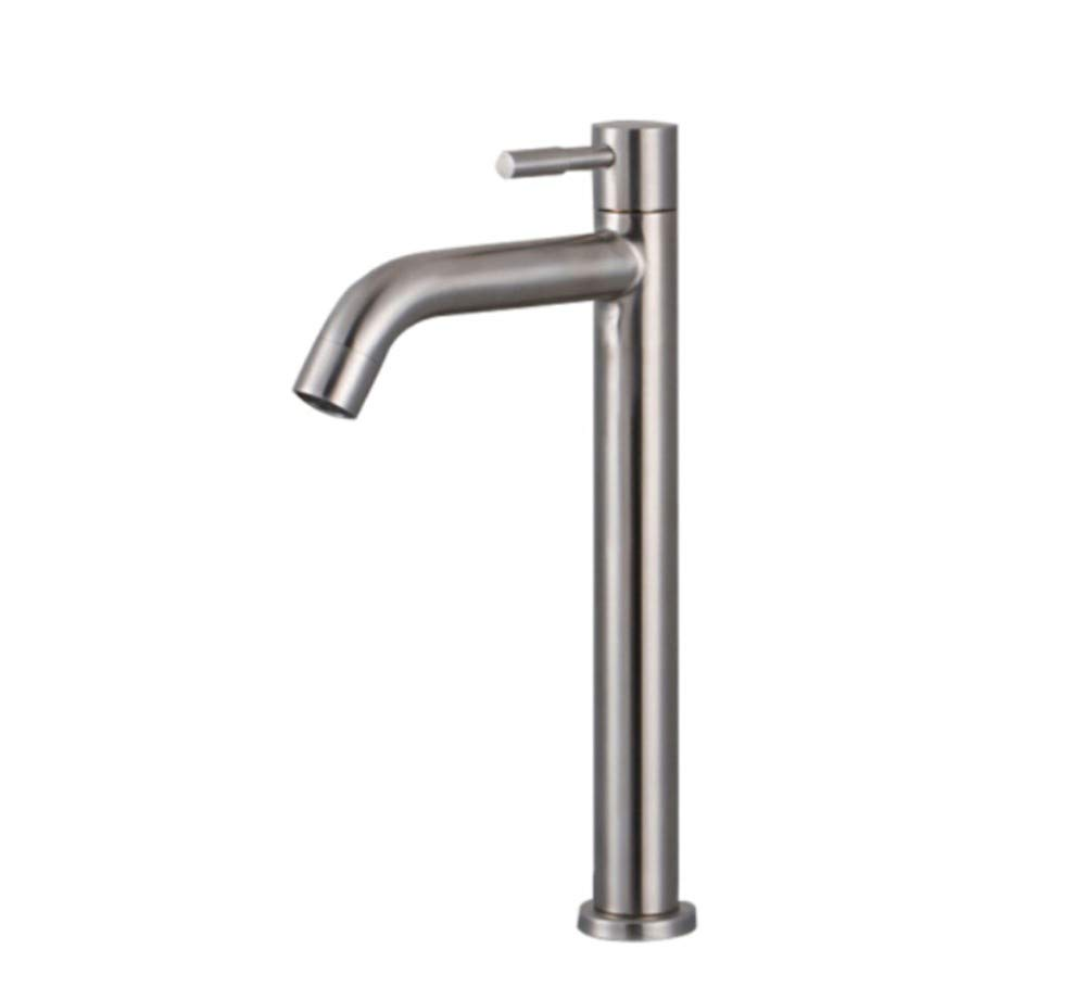 Basin Taps Swivel Spout Faucet Basin Single Cold Faucet 304 Stainless Steel Wash Basin Sink Single Hole Faucet 4 Points Interface Heightening