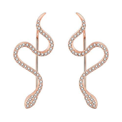 Snake Ear Climber Earrings Cubic Zirconia 925 Sterling Silver Ear Crawler Cuffs Earrings for Women Gift (Rose-Gold)