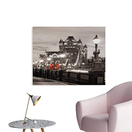 Tudouhoho Black and White The Office Poster London Theme Tower Bridge in The Famous City Urban Life Scenery Europe Wallpaper Taupe Grey Red W36 xL24]()