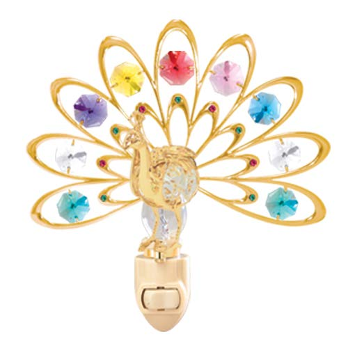 24k Gold Plated Peacock Night Light w/Mixed Swarovski Element Crystal
