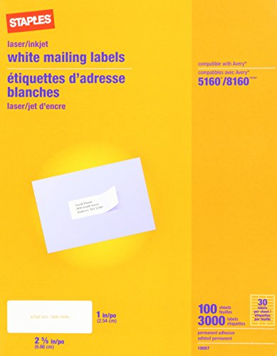 Staples White Inkjet/Laser Address Labels, 1