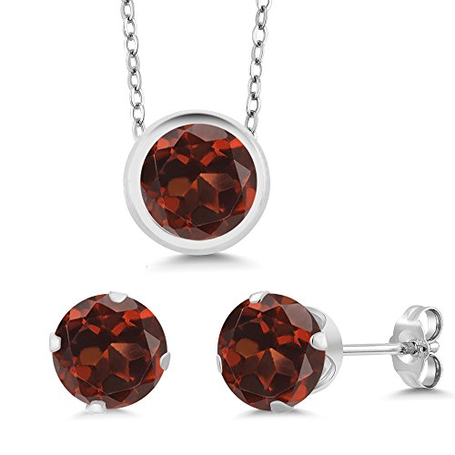 Garnet Set Pendant Round - Gem Stone King 3.00 Ct Round Red Garnet 925 Sterling Silver Pendant Earrings Set