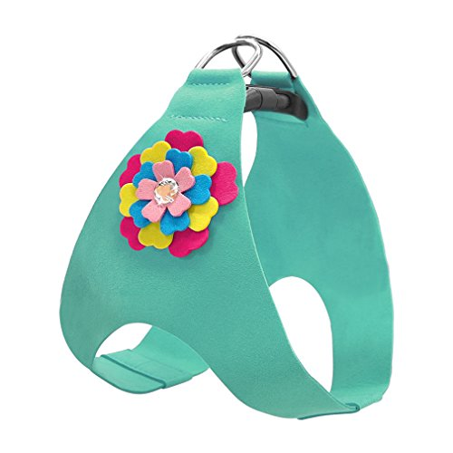 LLOVELYY Soft Suede Leather Dog Harness Cute Floral Vest For Small Medium Puppy Cat Blue XS ()