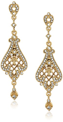 - 1928 Jewelry 14k Gold-Dipped Filigree Made with Crystal Swarovski Crystals Drop Earrings