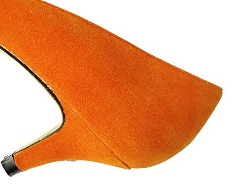 wealsex Escarpins Suédé Talon Moyen Aiguille Bout Pointu Chaussure de Soirée Mariage Couleur Uni Simple Classique Talon 6 Cm Femme Orange x1N1mX