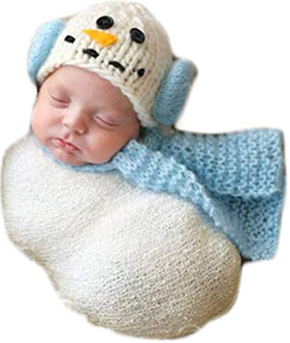 Christmas Newborn Baby Photo Prop Boy Girl Photo Shoot Outfits Crochet Knit Costume Unisex Cute Infant Snowman hat Scarf (Light Blue) ()