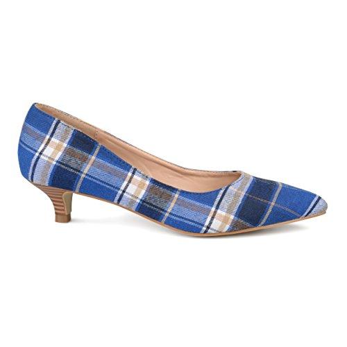 Brinley Co. Womens Pointed Toe Fabric Kitten Heels Blue, 6 Regular ()