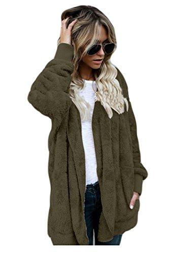 las beginning ocasional de bolsillos de ejercito piel la de de moda la Auspicious Invierno imitación de de mujeres capa con sólido verde color wtnpdqgxqA