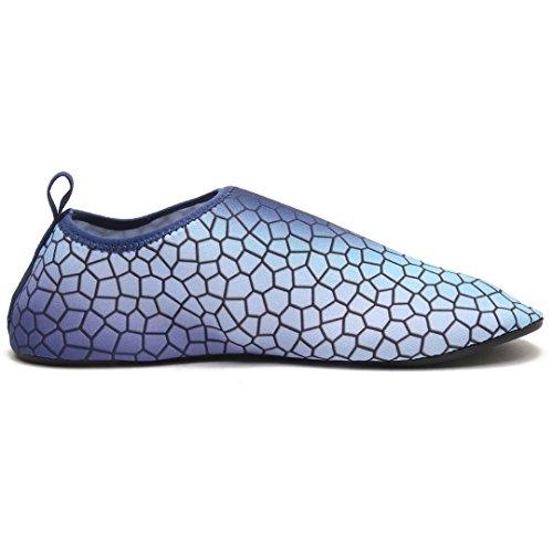 Bodatu Uomini Donne A Piedi Nudi Pelle Aqua Scarpe Morbide Scarpe Da Acqua Leggera Per Il Nuoto Nuotata Yoga Blu