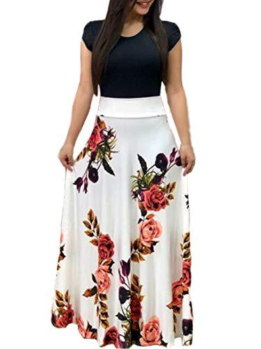 - Voopptaw Women Vintage Floral Crew Neck Cap Sleeve High Waisted Swing Pleated Maxi Tunic Dress White#2 X-Large