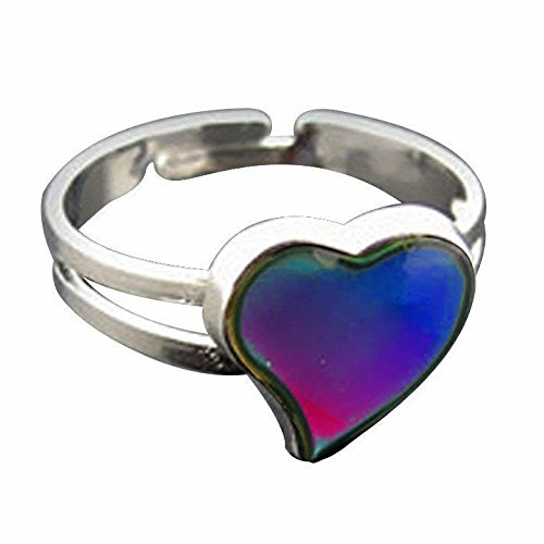 Jude Jewelers Adjustable Color Changing Mood Ring Inspirational Mystique Marble (Heart, Adjustable) ()