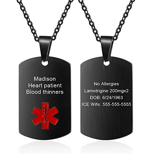 Great Features Of Medical Alert Necklace for Men Women Stainless Steel Engraved Medical ID Tag Emerg...