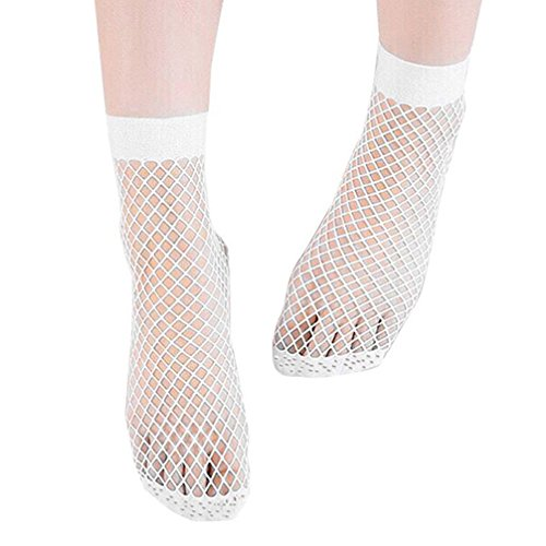 Fabal Sexy Women Socks Short Solid Fishnet Socks Harajuku Retro Hollow Lace Mesh Socks (White) (White Fishnets)