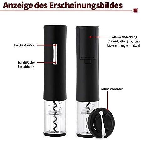 SATOHA Sacacorchos eléctrico 4 en 1, Incluye abridor de Vino automático, tapón de vacío, Cortador de láminas, vertedor de aireador de Vino (batería Negra)