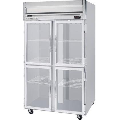 Beverage-Air HRP2-1HG Horizon Series Two Sections Glass Half Door Reach-In Refrigerator 49 cu.ft. capacity Stainless Steel Front and Sides Aluminum by Horizon