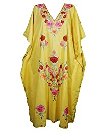 Mogul Womens Caftans Maxi Dress Kashmiri Embroidered Kimono Housedress Kaftan